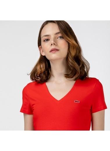 Lacoste Kadın Slim Fit Tişört TF0999.F8M Kırmızı